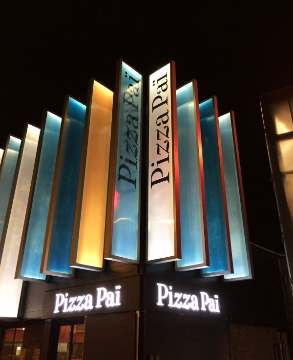 Adhésif coulé sur danpalon rétroéclairé Pizza paï